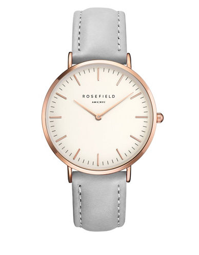Rosefield The Bowery Analog Rose Goldtone Leather Strap Watch-GREY-One Size