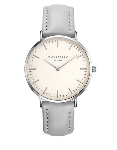 Rosefield The Bowery Analog Silvertone Leather Strap Watch-GREY-One Size
