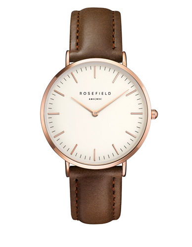 Rosefield The Bowery Analog Rose Goldtone Leather Strap Watch-BROWN-One Size