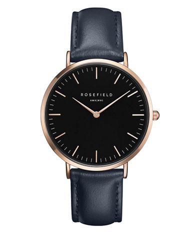 Rosefield The Bowery Analog Goldtone Leather Strap Watch-BLUE-One Size