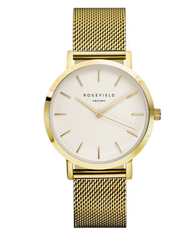 Rosefield The Mercer Analog Goldtone Mesh Bracelet Watch-GOLD-One Size