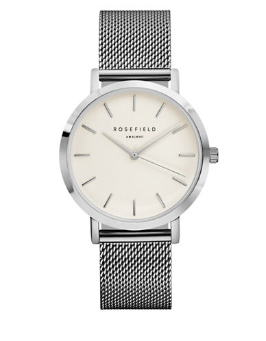 Rosefield The Mercer Analog Silvertone Mesh Bracelet Watch-SILVER-One Size
