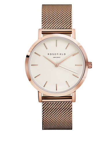 Rosefield The Mercer Analog Rose Goldtone Mesh Bracelet Watch-PINK-One Size