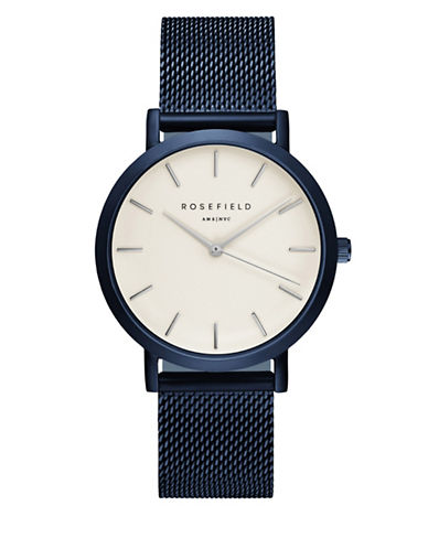 Rosefield The Mercer Analog Blue Mesh Bracelet Watch-BLUE-One Size