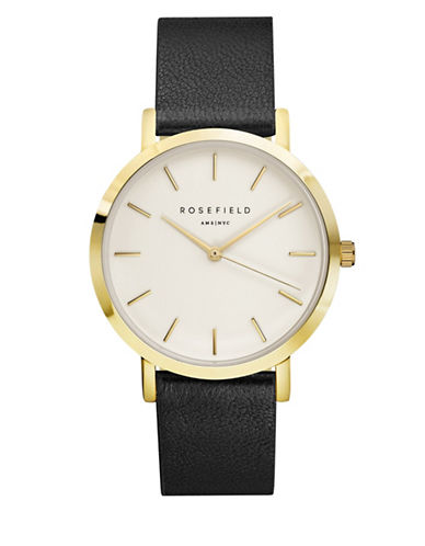 Rosefield The Gramercy Analog Goldtone Leather Strap Watch-BLACK-One Size