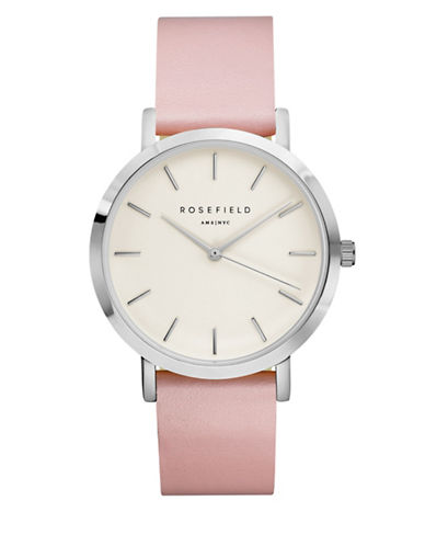 Rosefield The Gramercy Analog Silvertone Leather Strap Watch-PINK-One Size