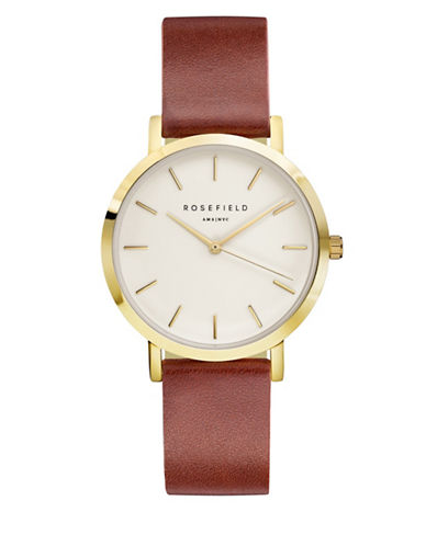 Rosefield The Gramercy Analog Goldtone Leather Strap Watch-BROWN-One Size