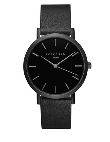 Rosefield The Grammercy Analog Black Leather Strap Watch-BLACK-One Size