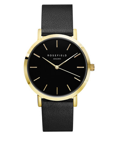 Rosefield The Grammercy Analog Goldtone Leather Strap Watch-BLACK-One Size