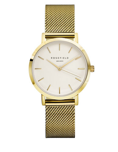 Rosefield The Tribeca Analog Goldtone Mesh Bracelet Watch-GOLD-One Size