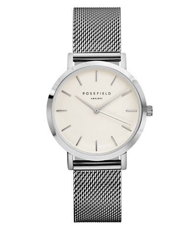 Rosefield The Tribeca Analog Silvertone Mesh Bracelet Watch-SILVER-One Size