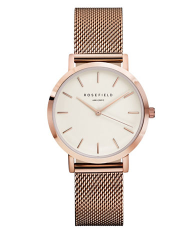 Rosefield The Tribeca Analog Rose Goldtone Mesh Bracelet Watch-PINK-One Size