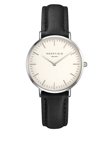 Rosefield The Tribeca Analog Silvertone Leather Strap Watch-SILVER-One Size