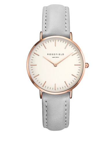 Rosefield The Tribeca Analog Rose Goldtone Leather Strap Watch-GREY-One Size