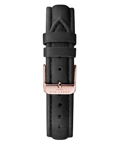 Rosefield Stitched Leather Watch Strap-BLACK-One Size