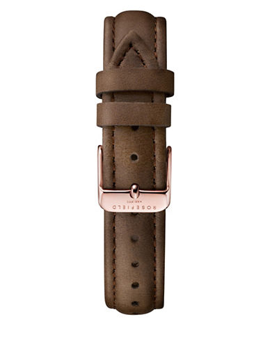 Rosefield Stitched Leather Watch Strap-BROWN-One Size