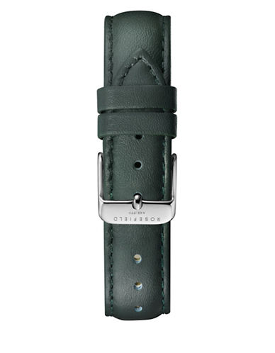Rosefield Stitched Leather Watch Strap-GREEN-One Size