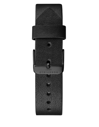 Rosefield Clean Cut Leather Watch Strap-BLACK-One Size