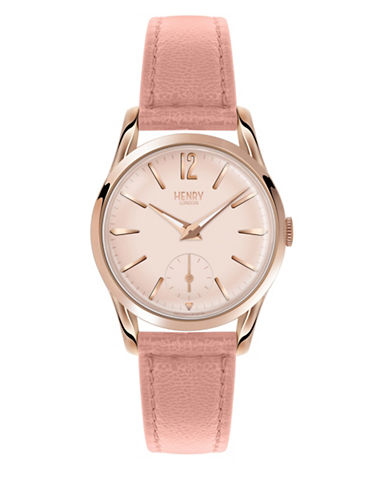 Henry London Chronograph Shoreditch Rose-Goldtone Leather Strap Watch-PINK-One Size