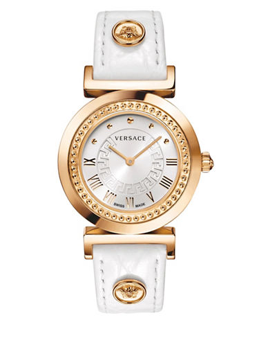 Versace Analog Vanity Rose Goldtone Leather Strap Watch-WHITE-One Size