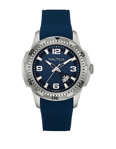 Nautica Analog Stainless Steel and Silicone Strap Watch-BLUE-One Size