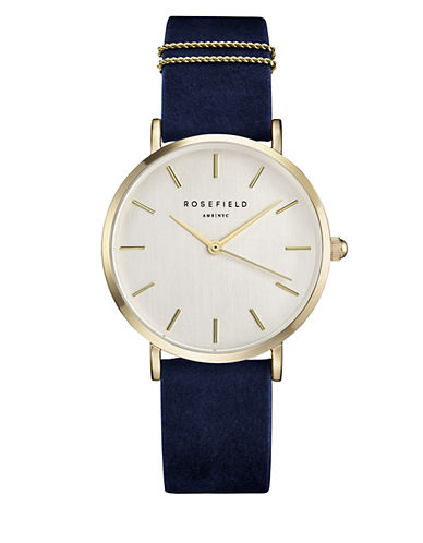 Rosefield Analog West Village Goldtone Leather Strap Watch-BLUE-One Size