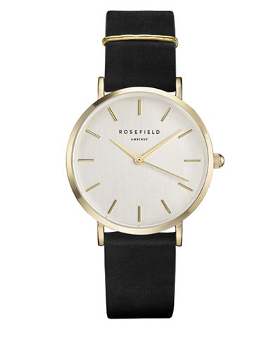 Rosefield Analog West Village Goldtone Leather Strap Watch-BLACK-One Size