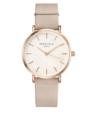 Rosefield Analog West Village Rose-Goldtone Leather Strap Watch-ROSE GOLD-One Size