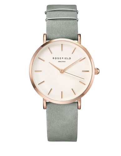 Rosefield Analog West Village Two-Tone Leather Strap Watch-GREY-One Size