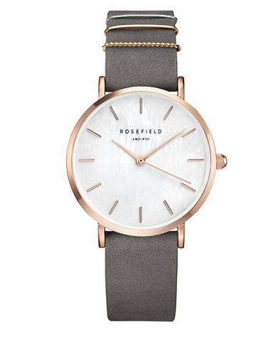 Rosefield Analog West Village Tri-Tone Leather Strap Watch-GREY-One Size