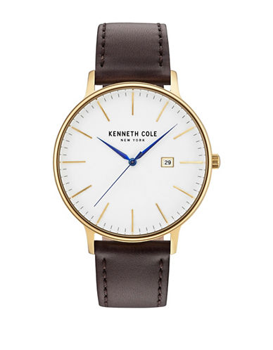 Kenneth Cole New York Analog KC15059005 Goldtone Leather Strap Watch-WHITE-One Size