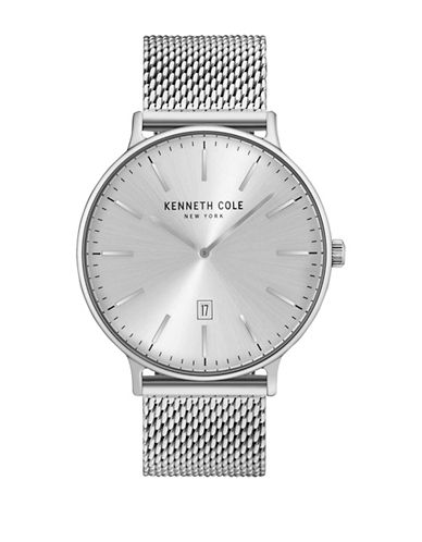 Kenneth Cole New York Analog KC15057009 Stainless Steel Mesh Strap Watch-SILVER-One Size