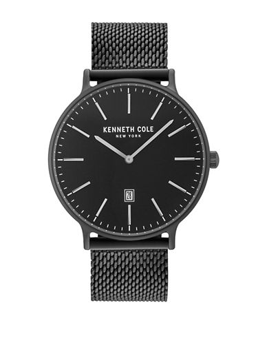 Kenneth Cole New York Analog KC15057012 Stainless Steel Mesh Strap Watch-BLACK-One Size