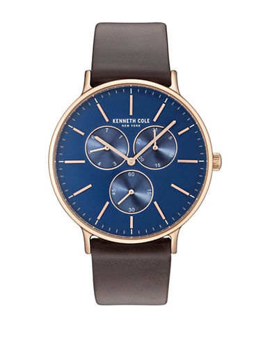 Kenneth Cole New York KC14946005 Goldtone Leather Strap Watch-BLUE-One Size