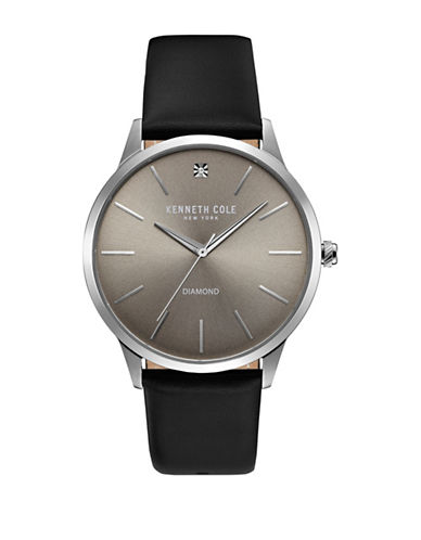 Kenneth Cole New York KC15111001 Stainless Steel Leather Strap Watch-GREY-One Size