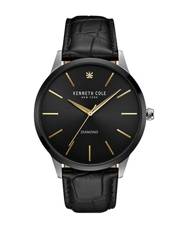 Kenneth Cole New York KC15111003 Goldtone Stainless Steel Textured Leather Strap Watch-BLACK-One Size