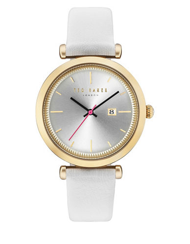 Ted Baker London Analog Ava Two-Tone Leather Strap Watch-WHITE-One Size