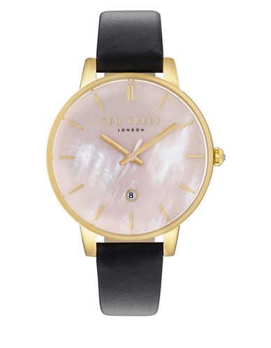 Ted Baker London Analog Kate Goldtone Leather Strap Watch-PINK-One Size