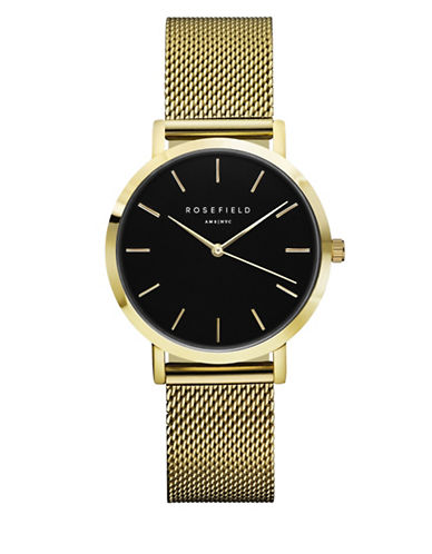 Rosefield Tribeca Analog Goldtone Mesh Bracelet Watch-GOLD-One Size
