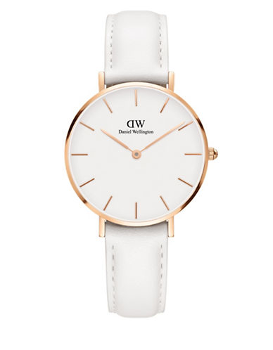 Daniel Wellington Analog Petite Bondi Goldtone Leather Strap Watch-WHITE-One Size