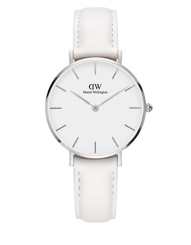 Daniel Wellington Analog Petite Bondi Stainless Steel Leather Strap Watch-WHITE-One Size