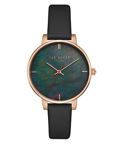 Ted Baker London Kate TEC0025001 Leather Strap Watch-BLACK-One Size