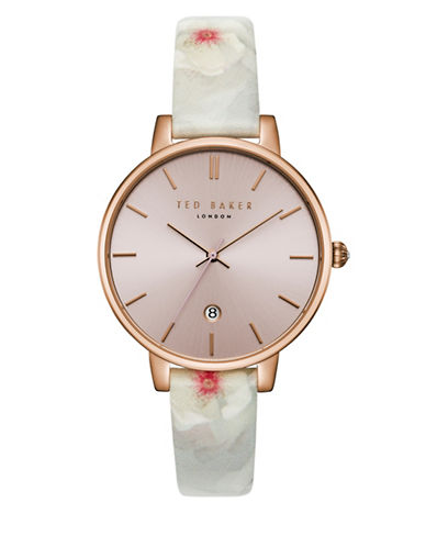 Ted Baker London Kate TEC0025004 Leather Strap Watch-BLACK-One Size