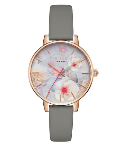 Ted Baker London Kate TEC0025007 Leather Strap Watch-GREY-One Size