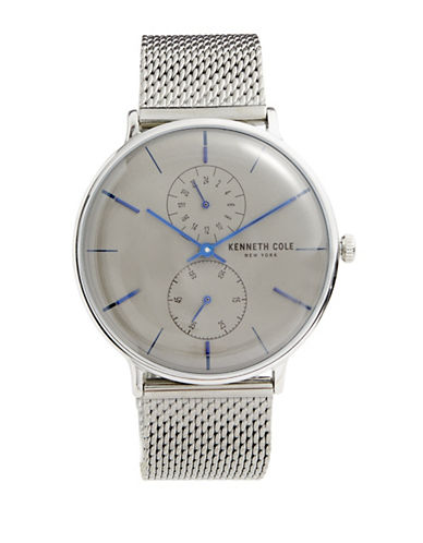 Kenneth Cole New York Chronograph Stainless Steel Mesh Bracelet Watch-GREY-One Size