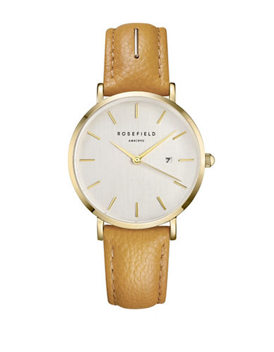 Rosefield September Issue Goldtone Stainless Steel Leather Strap Watch-YELLOW-One Size