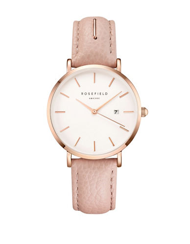 Rosefield September Issue Rose Goldtone Stainless Steel Blush Leather Strap Watch-PINK-One Size