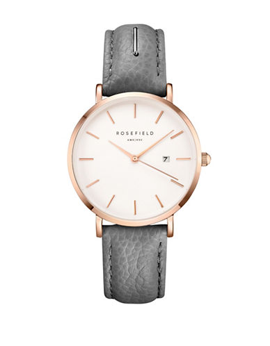 Rosefield September Issue Stainless Steel Grey Leather Strap Watch-GREY-One Size