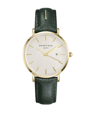 Rosefield September Issue Goldtone Stainless Steel Green Leather Strap Watch-GREEN-One Size