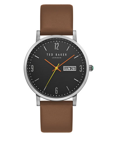 Ted Baker London TE15196010 Grant Brown Leather Strap Watch-BROWN-One Size